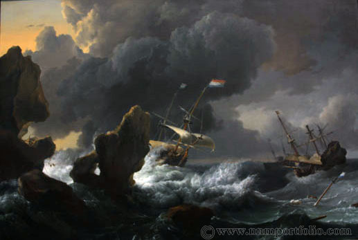 """National Gallery of Art - """"Ships in Distress off a Rocky Coast"""" by Ludolf Backhuysen"""