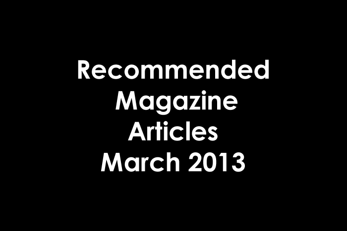 Magazine Articles March 2013