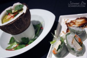Food Photography - Tofu Wraps & Vegetable Chowder in Coconut Shell